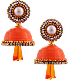 Buy Orange teracotta and dokra jhumkas jhumka online