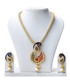 Buy Super-Lite Peacock Design Multicolor Pearl Set necklace-set online