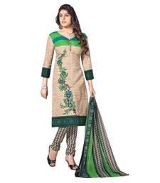 Buy Green cotton printed unstitched cotton salwar kameez for women straight-suit online