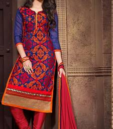 Buy Blue Chanderi Embroidered unstitched salwar with dupatta straight-suit online