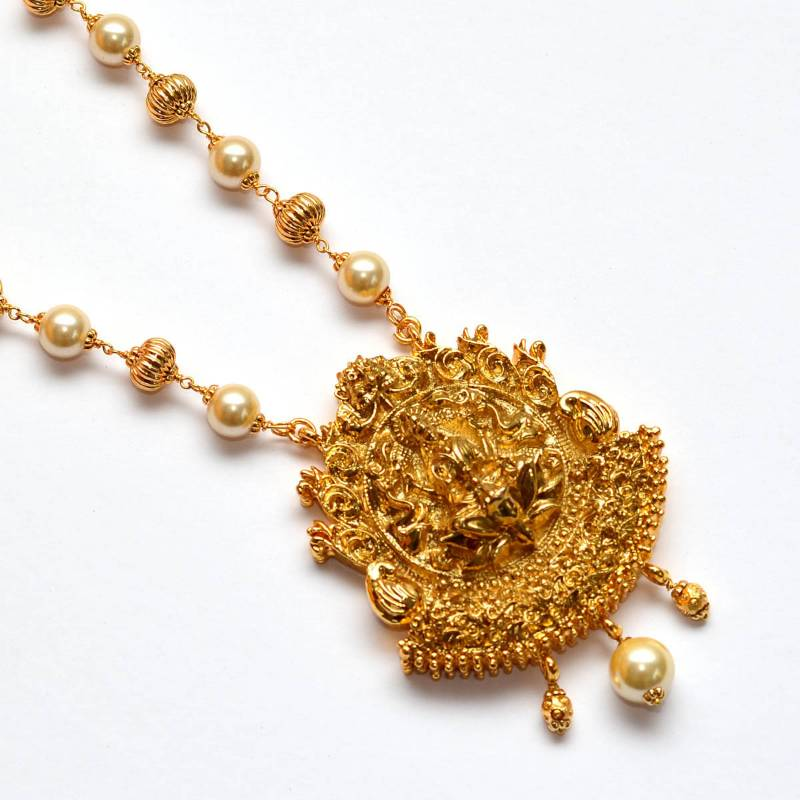 Buy Anvi\'s lakshmi pendent (temple jewellery) with gold beads and ...