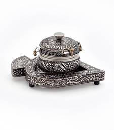 Buy Real oxidized white metal pan box with tray home-decor online