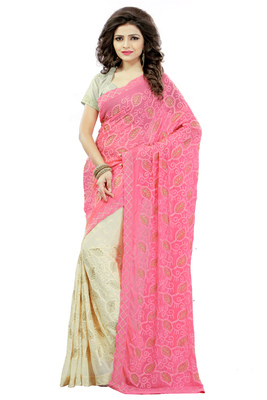 Pink embroidered nazneen saree with blouse