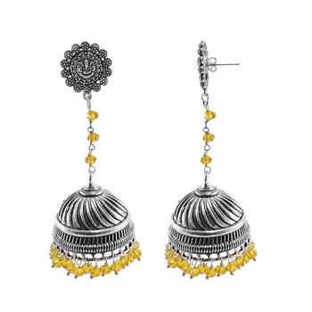 Alluring Ethnic Jewellery 28.8 Grams Citrine Crystal Alloy Oxidized Designer Jhumki Ganesha Earrings
