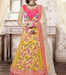 Buy Yellow embroidered net unstitched lehenga ethnic-lehenga online