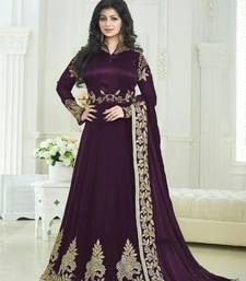 Buy Wine embroidered georgette semi stitched salwar with dupatta collar-neck-design online