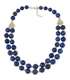 Buy   Perfect round shaped dyed lapis lazuli gem stone beads necklac... gemstone-necklace online