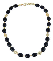 Buy   Delight oval shaped black agate gem stone beads necklace for w... gemstone-necklace online