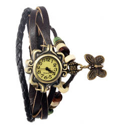 Buy Brown colour latest leather strap anlong wrist watch watch online