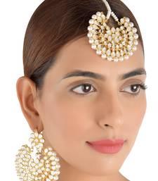 Buy Off-White Pearls and Kundan Embellished Dangler Earrings cum Maang Tika Set 217MT75 danglers-drop online