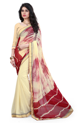 Cream printed nazneen saree with blouse