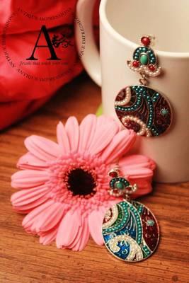 Turquoise Blue earrings,Peacock Chandelier earrings, Ethnic&Western style