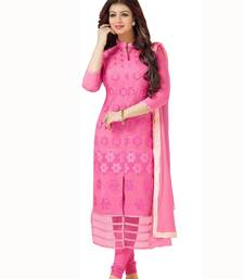 Buy Blissta Pink Cotton Embroidered Dress Material dress-material online