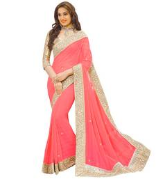 Buy Peach hand woven georgette saree with blouse georgette-saree online