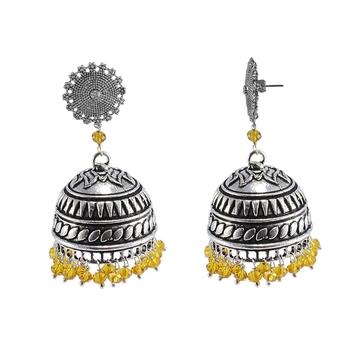 Religious Floral Jhumki With Citrine Crystals-Antique Silver Polished Jhumka-Punjabi Wedding jewellery