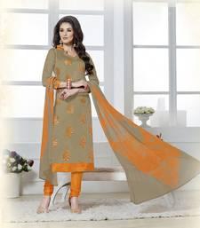 Buy Beige embroidered chanderi unstitched salwar with dupatta diwali-discount-offer online