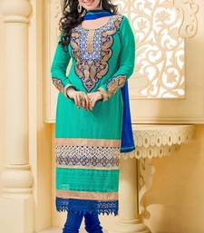 Buy green embroidered georgette unstitched salwar with dupatta straight-suit online