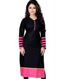 Buy Black Color Stitched Kurti In Cotton Fabric. party-wear-kurtis online