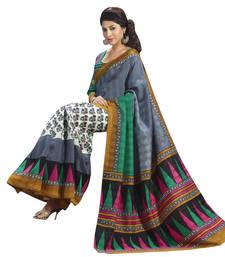 Buy Grey printed art silk saree with blouse art-silk-saree online