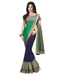 Buy Green embroidered faux georgette saree with blouse designer-embroidered-saree online