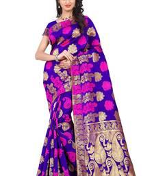 Buy Orange woven banarasi saree with blouse banarasi-saree online