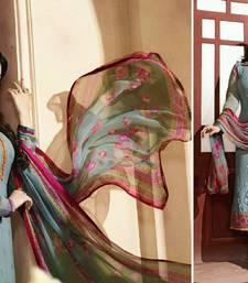 Buy Grey embroidered georgette semi stitched salwar with dupatta pakistani-salwar-kameez online