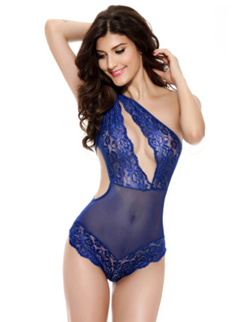 Buy Blue Polyester And Spandex Sexy Sleepwear Online-3771