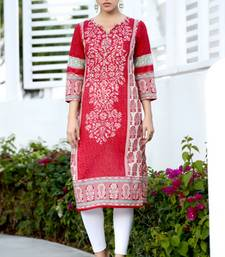 Buy Red cotton printed stitched kurti cotton-kurti online