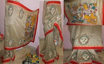 beige hand woven dupion silk saree with blouse