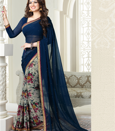Buy Navy blue floral print georgette saree with blouse georgette-saree online