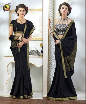 Black plain crepe saree with blouse