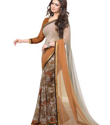Buy Brown floral print georgette saree with blouse light-weight-saree online