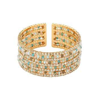 Natural Beads and Rhinestones Italian Designer Cuffs-Ziba Oro Cuff