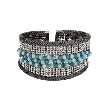 Natural Beads and Rhinestones Italian Designer Cuffs-Ocean Beaded Arian Cuff