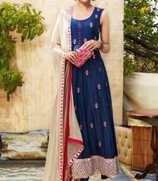 Buy Blue embroidered pure bhagalpuri silk semi stitched salwar with dupatta semi-stitched-salwar-suit online