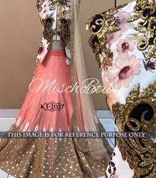 Buy Beige embroidered art silk unstitched lehenga bridal-lehenga online