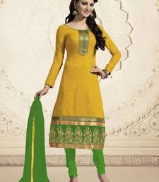 Buy Yellow chanderi embroidered Straight Suit Dress Material straight-suit online