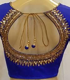 Buy Royal Blue Dupion Silk stitched Blouse bridal-blouse online