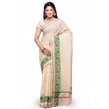 Beige Cotton Handloom Traditional Saree