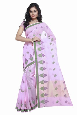 Light Purple Cotton Handloom Traditional Saree