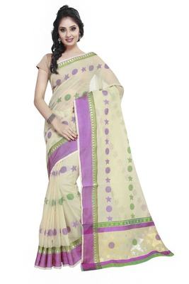 Cream Cotton Handloom Traditional Saree