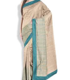 Buy Beige plain silk-sarees saree with blouse silk-saree online