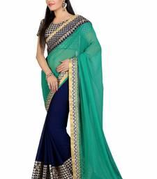 Buy Ramzan Eid saree Green embroidered georgette saree with blouse georgette-saree online