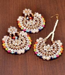 Buy Kundan Embellished Dangler Earrings Cum Maang Tika Set 217mt106 black-friday-deal-sale online
