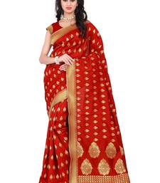 Buy Red printed banarasi silk saree with blouse banarasi-saree online