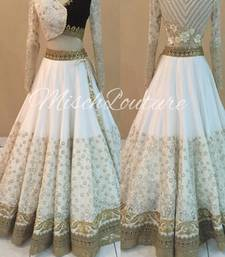 Buy White embroidered net semi-stitched lehenga bridal-lehenga online