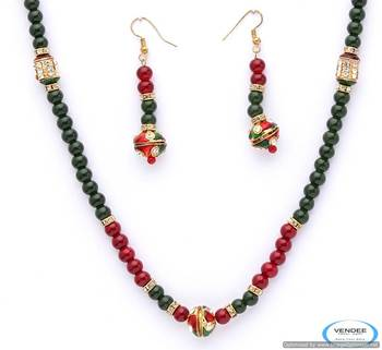 Vendee  Round bali style beads necklace set 4968