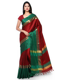 Buy Red hand woven cotton silk saree with blouse cotton-silk-saree online
