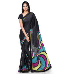 Buy Black printed crepe saree with blouse crepe-saree online