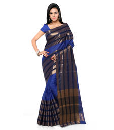 Buy Navy blue hand woven cotton silk saree with blouse handloom-saree online